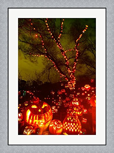 Jack o' lanterns lit up at night, Roger Williams Park Zoo, Providence, Rhode Island, USA Framed Art Print Wall Picture, Flat Silver Frame, 27 x 36 inches -