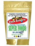 Virgin Extracts (TM) Pure Premium Freeze Dried Organic Bilberry Powder 4:1 Extract Concentrate SuperFood Powder (4 x Stronger) 8oz Pouch