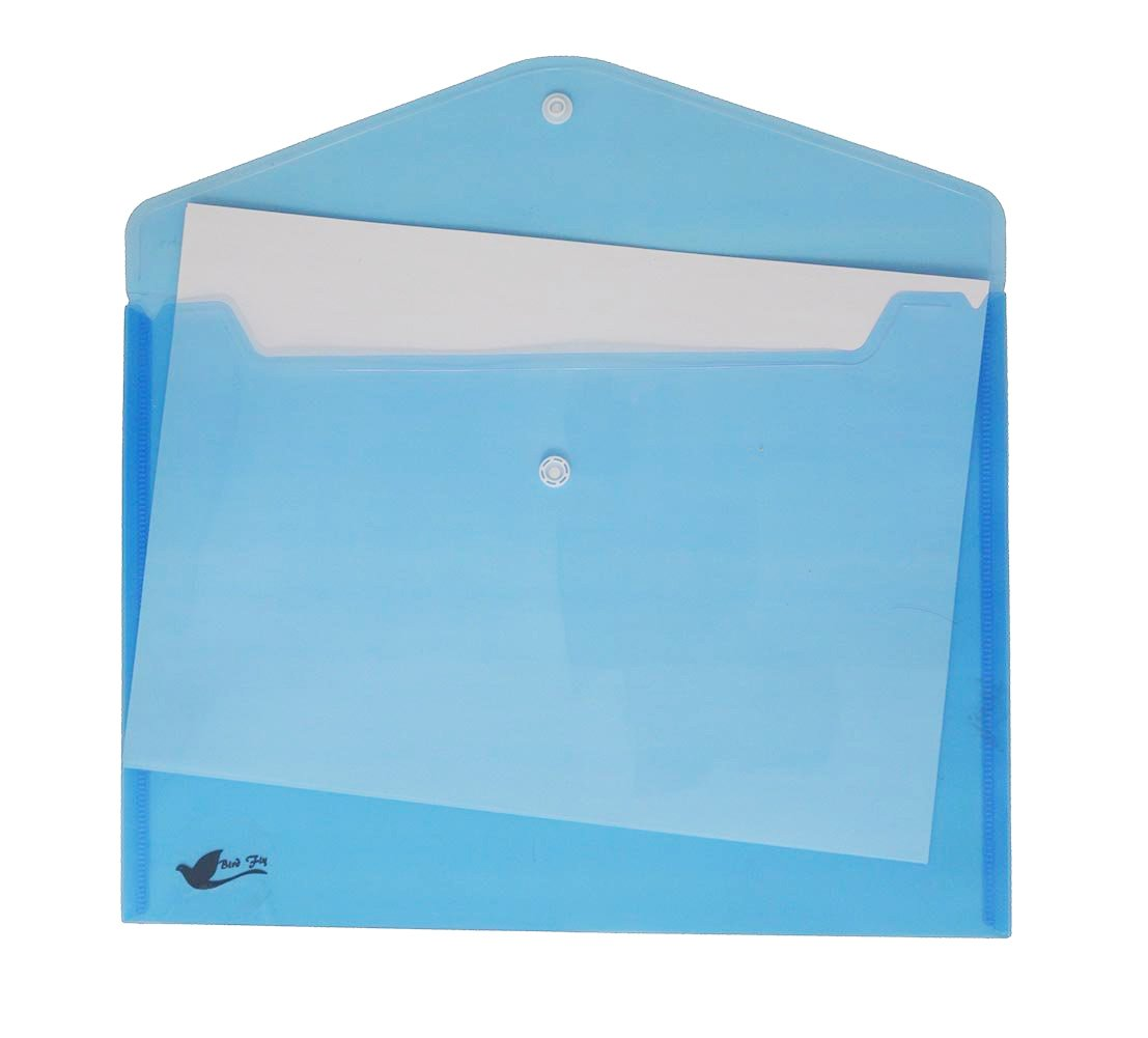 Bird Fiy 12PCS Clear Document Folder With Snap Button,Premium Quality Poly Envelope, US Letter/A4 size (Blue) by Bird Fiy (Image #2)