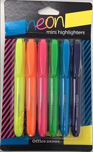 Mini subrayadores, punta biselada, colores neón surtidos, 6-Pack: Amazon.es: Oficina y papelería