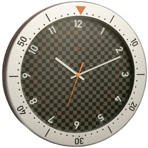 BAI Speedmaster Wall Clock, Silver and Black (Dial Flag Bezel)