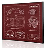 Ferrari Enzo Blueprint Artwork-Laser Marked & Personalized-The Perfect Ferrari Gifts