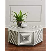 Geometric Hexagonal Black and White Bone Inlay Coffee Table