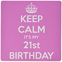3dRose LLC 8 x 8 x 0.25 Inches Mouse Pad, Keep Calm Its My 21st Birthday Happy 21st Birthday Pink (mp_163840_1)