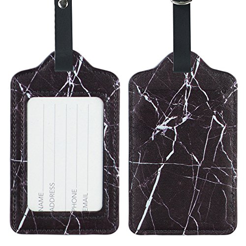Lizimandu PU Leather Luggage Tags Suitcase Labels Bag Travel Accessories - Set of (Black Leather Luggage Tag)