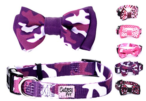 - Cutesy Pet Dog Collar with Adjustable Bow | Comfortable and Strong | Purple Camo | 5 in 4 Different Sizes