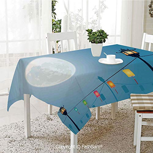 Premium Waterproof Table Cover Celebration Under Moonlight with Chinese Lanterns Fall Asian Style Graphic Art Decorative Resistant Table Toppers (W60 xL84) from AmaUncle