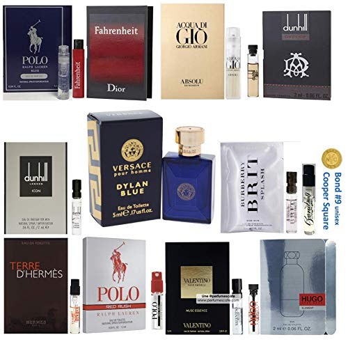 Pilestone's Choice: 12 Cologne Samples for Men (Designer perfume samples, including Hugo Boss, Armani Absolu, Valentino, Dior Fahrenheit, Prada)