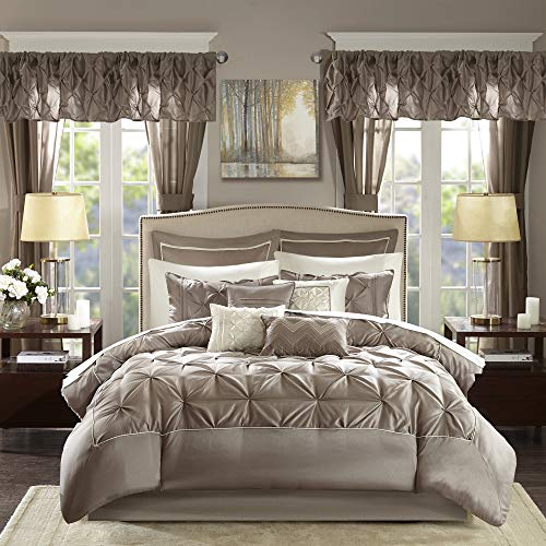 Madison Park Essentials Room in a Bag Faux Silk Comforter Set-Luxe Diamond Tufting All Season Bedding, Matching Curtains…