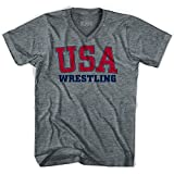 USA Wrestling Ultras V-neck T-shirt, Athletic Grey, Adult Small
