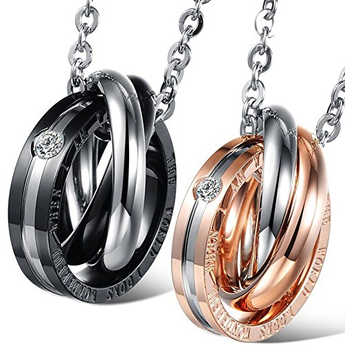 9abbb067ae Necklaces UHIBROS His & Hers Matching Set Titanium Stainless Steel Couples  Pendant Necklace UHI-831