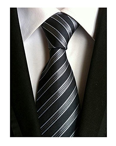 (Men's 100% Silk Handmade Classic Jacquard Necktie (Black & Gray Diagonal Stripes))