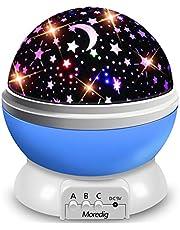 Moredig Baby Star-projektor, 360° rotation nattlampa projektor för barn med 8 belysningslägen – blå nattlampa