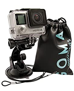 GOMA Industries Suction Cup Car Mount for GoPro Hero5// Session Hero4 Hero3 All Gopro Cameras and camcorders SJcam SJ4000, SJ5000, Garmin Virbx, xiaomi Yi Bundled with Safety Tether and Protective Bag