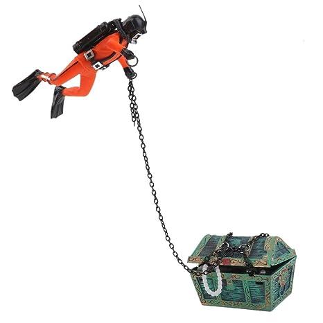 SODIAL Buzo Cazador de Tesoros Decoracion para Acuario Tanque de pez Naranja