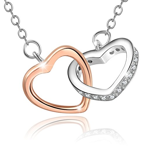 Mouttop 925 Heart Necklace Earrings Set Forever Love Rhodium-Plated, Sterling Silver Jewelry Set 16+1
