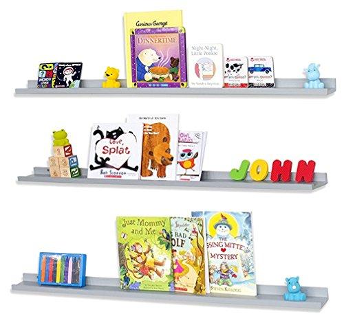 WALLNITURE Floating Wall Shelf Nursery Bookshelf Picture Ledge 46 Inch Gray Set of (Shelf Help Wall Shelves)