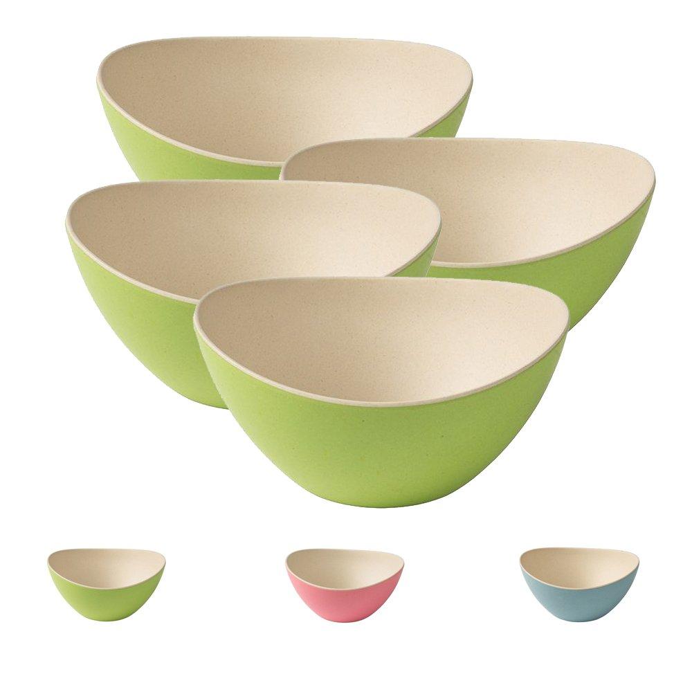 ecologiche Senza BPA I Set di Ciotole Moderno Ovale 14 x 15,5 cm Natura Bianco Blu BIOZOYG 4 Ciotole di Cereali in bamb/ù I Ciotole per Immersione Ciotole per Insalata riutilizzabili