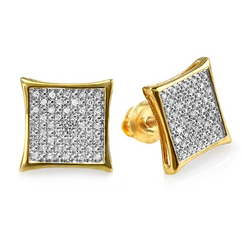 - 0.25 Carat (ctw) 18k Gold Plated Sterling Silver Round Diamond Two Tone Stud Kite Shaped Micro Pave Earrings 1/4 CT