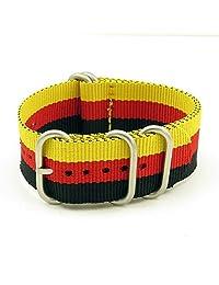StrapsCo 22mm Black / Red / Yellow Matte Silver 5-Ring G10 Ballistic Nylon Nato Zulu Watch Strap