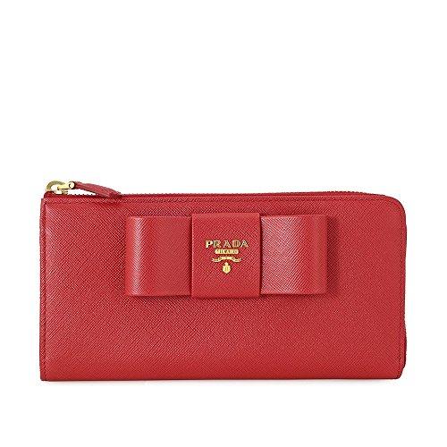 Prada Fiocco Saffiano Leather Wallet - Fuoco