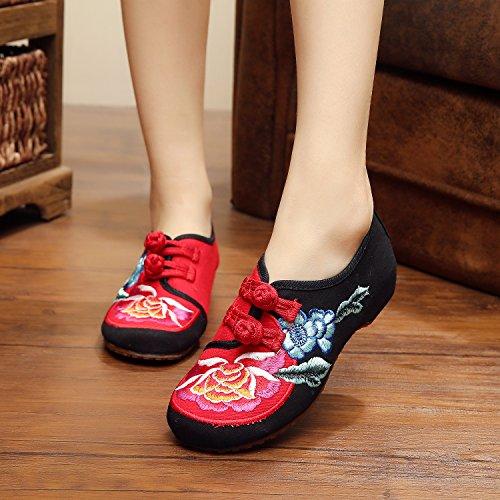 ZLL Gestickte Schuhe, Leinen, Sehnensohle, ethnischer Stil, weibliche Schuhe, Mode, bequeme Abdeckung der Fuß , black , 41