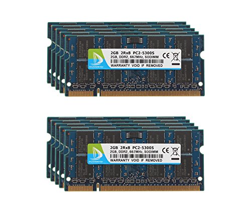 5300 Pc2 200 Pin Laptop (DUOMEIQI (10 X 2GB) 2RX8 PC2-5300 PC2-5400 DDR2 667MHz CL5 200 Pin 1.8v SODIMM Notebook RAM Non-ECC Unbuffered Laptop Memory Module Compatible with Intel AMD System)