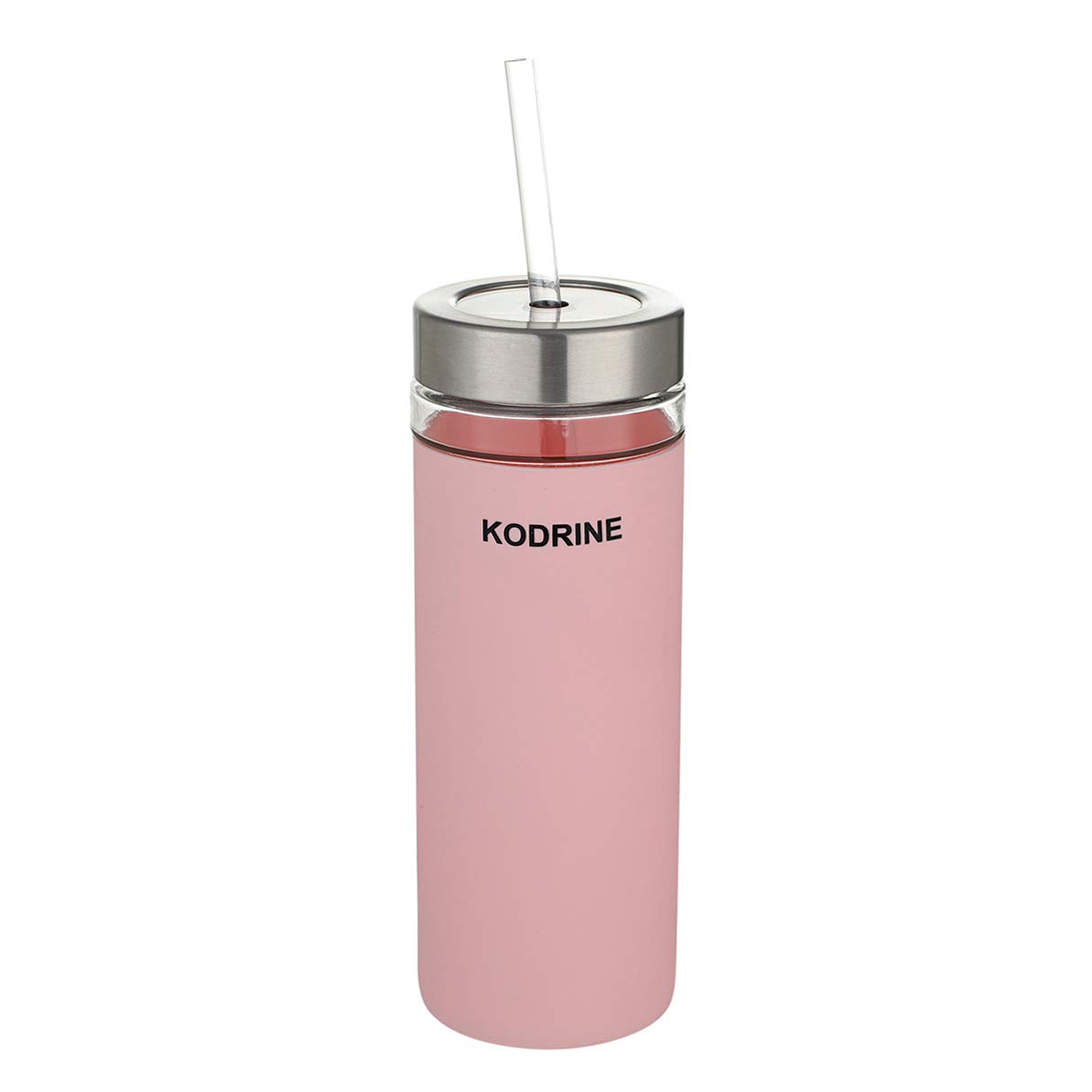 Glass tumbler with straw, 20oz Glass Water Bottle with Silicone Protective Sleeve - Stainless steel and plastic combination lid - BPA Free Pink