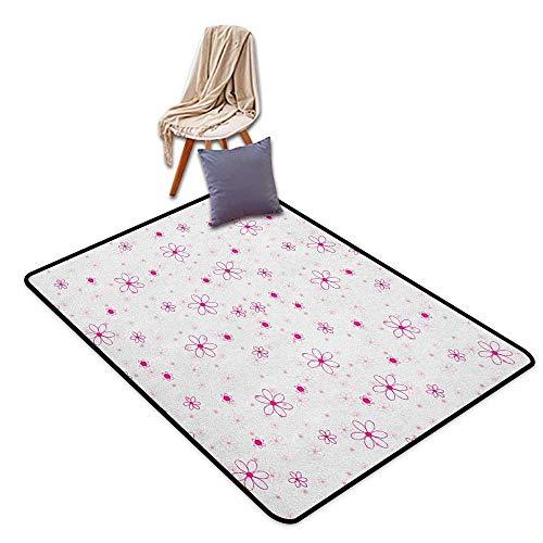 Room Bedroom Floor Rug Princess Pattern with Flowers Simple Classic Art Springtime Garden Cheerful Door Rug Indoors ()