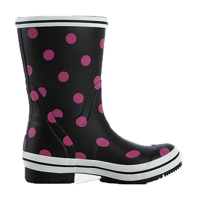 Rain Boots Damen Retro Tube Naturkautschuk Pfützen Mädchen Gummistiefel Beleg, 1, 35
