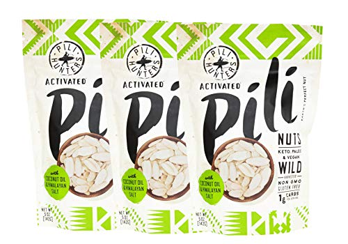 PILI HUNTERS The Original Wild Sprouted Pili Nuts Keto 3-Pack, with Himalayan Salt and Coconut Oil, Vegan, Low Carb Energy, No Sugar Added, Ketogenic Fat Superfood, (5 oz Bag, pack of 3)