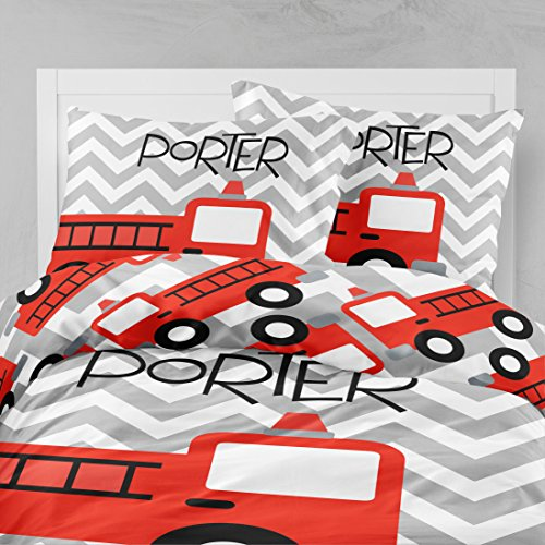 Personalized Bedding Custom Bedspread Chevron Firetruck