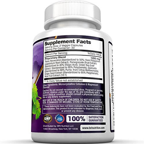 51i6nLErEaL - BRI Resveratrol - 1200mg Potent Trans-Resveratrol Natural Antioxidant Supplement with Green Tea and Quercetin Promotes Anti-Aging, Heart Health, Brain Function and Immune System