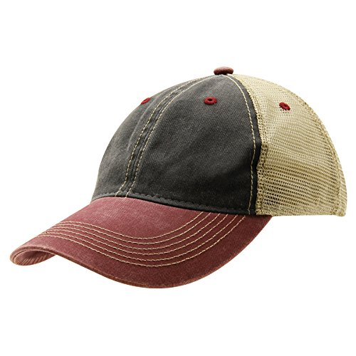 (Ouray Sportswear Legend Vintage Wash Trucker Cap, Charcoal/Khaki/Burnt Henna, Adjustable)