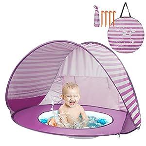 Yalojan Tenda da Spiaggia per Bambini, Pop-up Tenda per Bambini con Piscina per Bambini,Tenda Pieghevole Portatile Protezione Solare Anti UV 50, Tenda per Parco Vacanze sulla Spiaggia. 3 spesavip