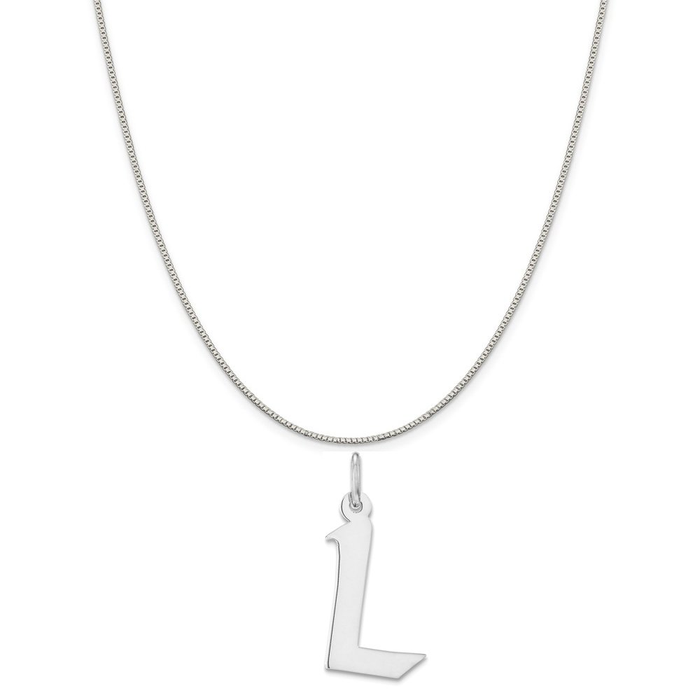 18 Mireval Sterling Silver Medium Artisan Block Initial L Charm on a Sterling Silver Box Chain Necklace