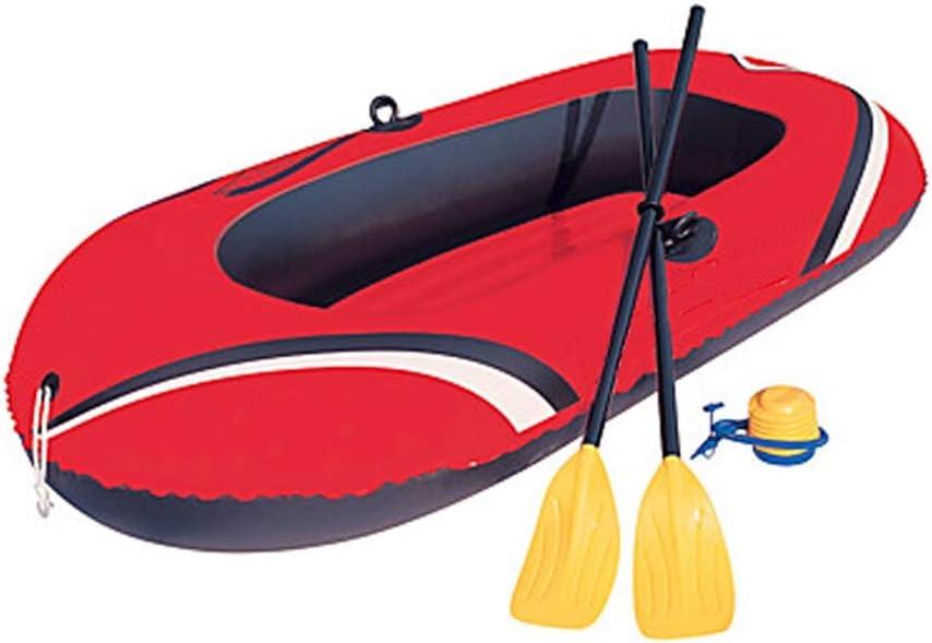 ハンドエアポンプフレンチオール付き1人インフレータブルボートセットPVCポータブル折りたたみ釣りボートウォータースポーツ (Color : 赤, Size : A) 赤 A