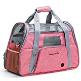Airline Approved Pet Carrier - Sided Luxury Travel Tote - Multiple Air Vents Waterproof Lightweight Handbag - Under Seat Compatibility - Perfect for Cats and Small Dogs - Pink