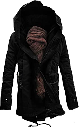 Generic Mens Linen Warm Coats Winter Coat Hoodie Fleece Trench