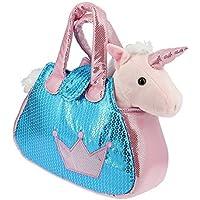 Bolso brillante azul y rosa con un Unicornio