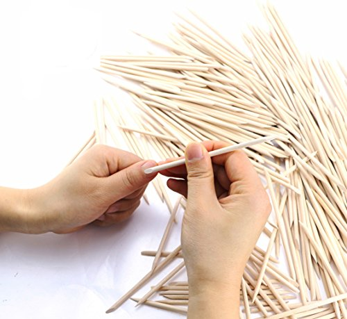 Newbested 300 Pcs 4.5 inch Double Sided Nail Art Wood Stick, Multifunctional Cuticle Pusher Remover Manicure Pedicure Tool