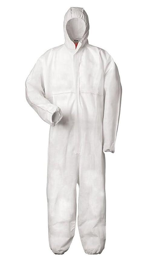 Mono protector con capucha (protege contra químicos, polvo y partículas nucleares; antiestático, categoría 3, tipo 5 y 6), weiß, medium