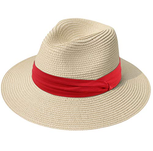 (Lanzom Women Wide Brim Straw Panama Roll up Hat Fedora Beach Sun Hat UPF50+ (Z-Red Ribbon Khaki))