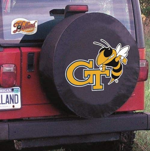 (HBS Georgia Tech Tire Cover with Yellow Jackets Logo on Black Size: A - 34 x 8 Inch)