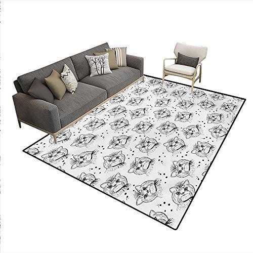 Carpet,Cute Dog Pattern Buckle Collar Monochrome House Pet Illustration,Non Slip Rug Pad,Black White,5'x6' -