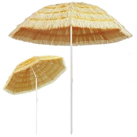 Tidyard Sombrilla De Playa Con Diseño Inclinable Garden Parasol Para Terraza Jardín Playa Piscina Patio Estilo Hawai Poste Y Varillas De