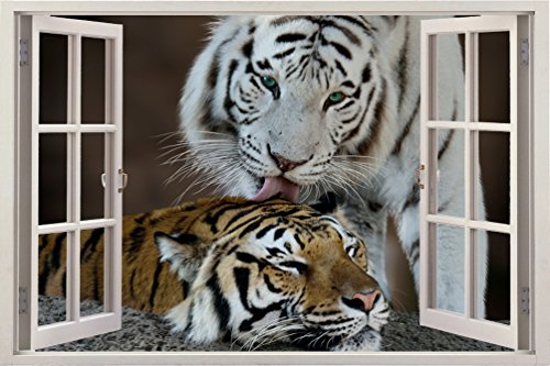 Bomba-Deal Realistic Window Wall Decal – Peel Stick Nautical Decor Living Room, Bedroom, Office, Playroom – Animal Wall Murals Removable Window Frame Style Wall Art – Vinyl Poster Wall Tiger Stickers by Bomba-Deal