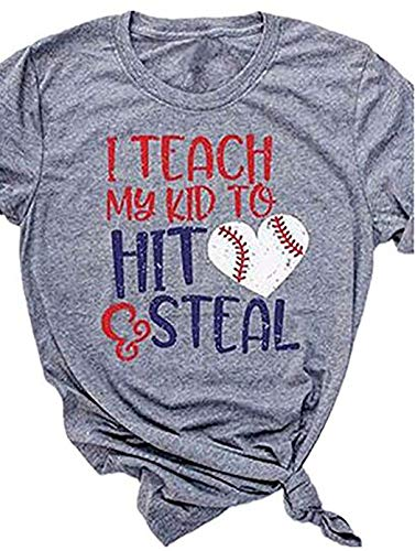 it and Steal Funny Baseball Letter Printing Women Shirt T-Shirt Game Day Shirt Gift for mom (Grey,XL) ()