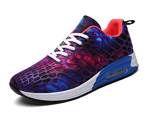 FLARUT Womens Mens Lightweight Walking Trainers Gym Fitness Running Shoes Breathable Sport Sneakers(Purple-b,42 EU)