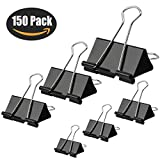 Binder Clips, HERKKA 150 Pack Paper Clamp Clips for Letter Notes Paper Binder Office/School Supplies, Assorted Sizes